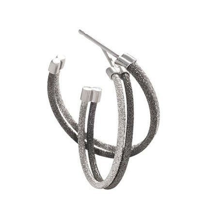 Sterling Silver and Black Rhodium Hoop Earrings