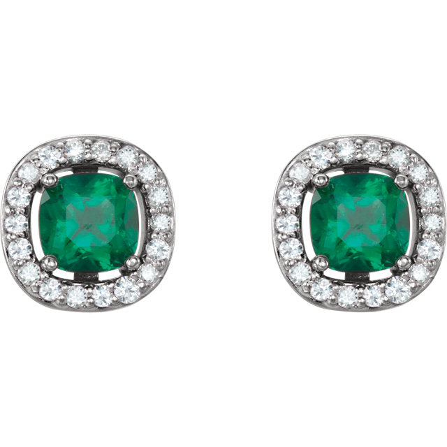 White Gold Chatham Emerald and Diamonds Stud Earrings