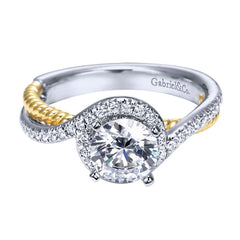 Two Tone Gold Bypass Design Diamond Engagement Mounting