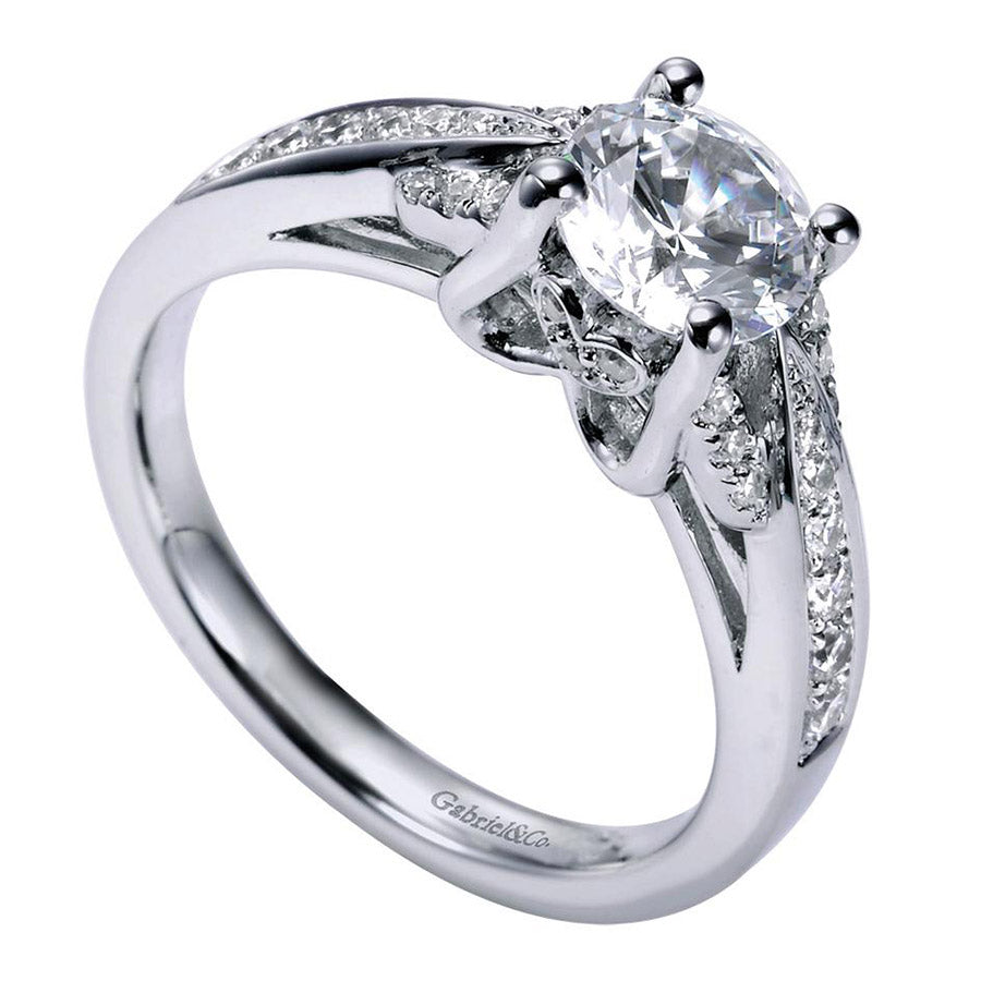 Tapered Pave Design Diamond Engagement Mounting