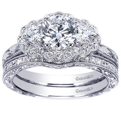 Three Stone Diamond White Gold Engagement Ring