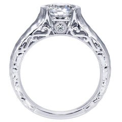 Hammered Finish Contemporary Solitaire Diamond Engagement Mounting