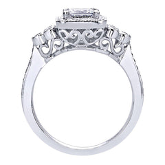 Vintage Inspired Princess Cut Diamond Engagement Ring