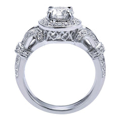 Vintage Style Round Diamond Halo Engagement Mounting