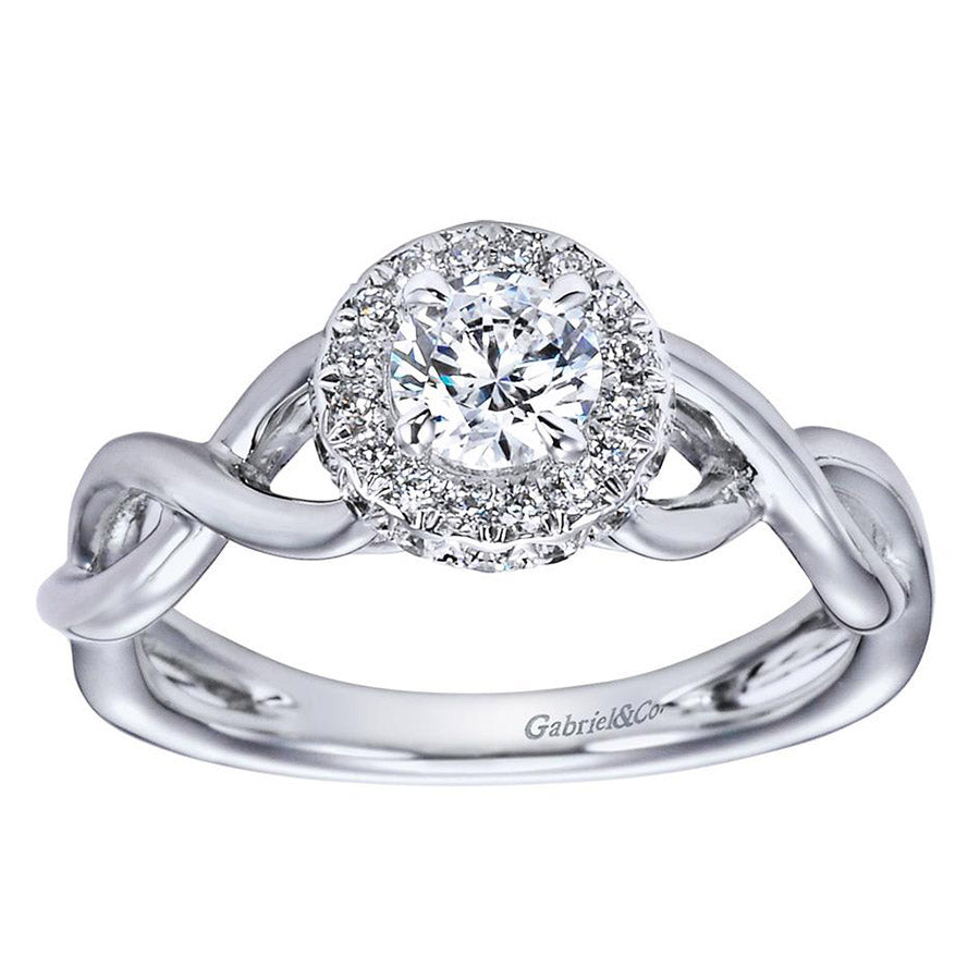 Criss Cross Diamond Halo Engagement Ring