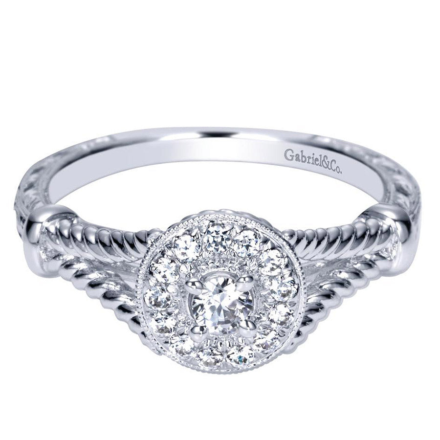 Split Rope Shank Diamond Halo Engagement Ring