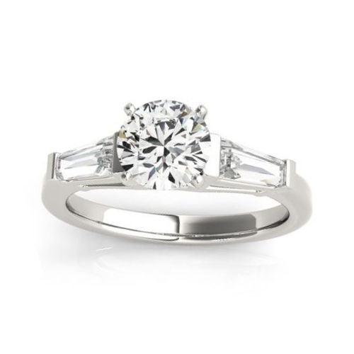 Classic Baguette Diamonds Fancy Solitaire Engagement Mounting in White Gold