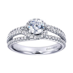 Triple Row Diamond Halo Engagement Ring