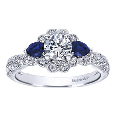 Diamond and Blue Sapphire White Gold Engagement Ring