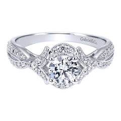 Vintage Halo White Gold Diamond Engagement Ring