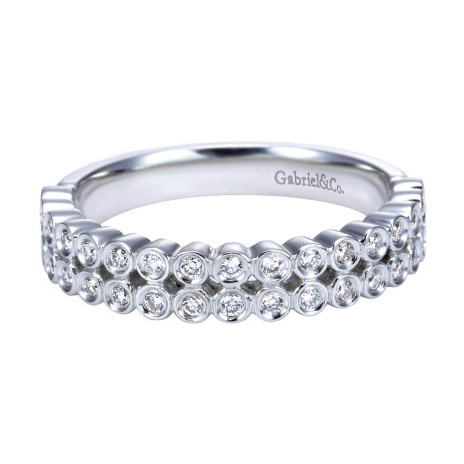 gabriel bands white gold ladies wide band ring diamond