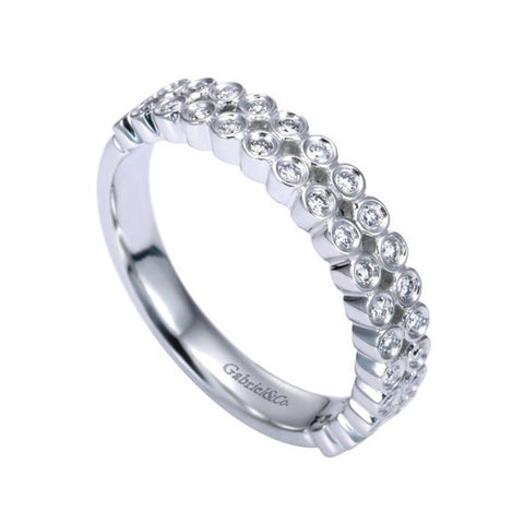 Gabriel and Co Double Row White Gold Diamond Band
