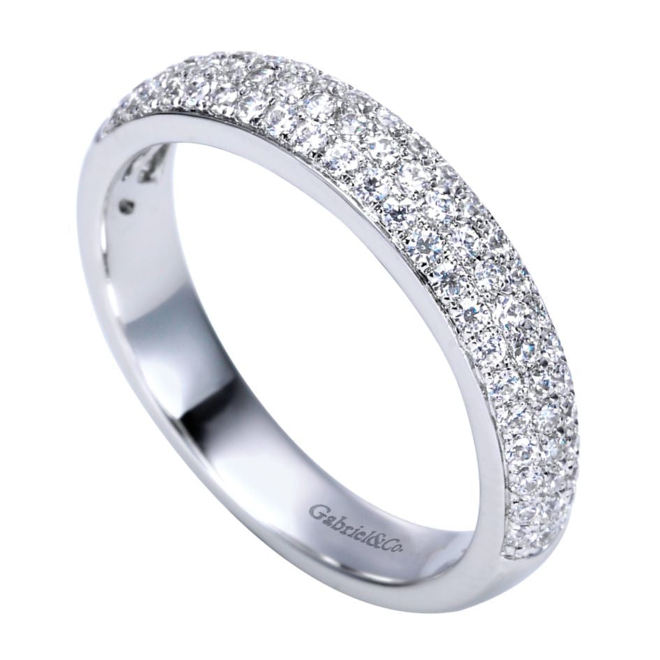 Ladies' 14k White Gold Triple Row Diamond Band
