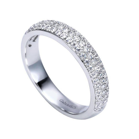 Designer White Gold Triple Row Diamond Band