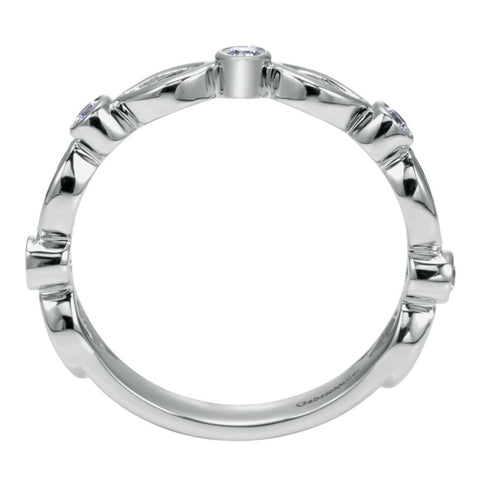 Ladies' Scalloped 14k White Gold Diamond Band