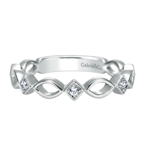 Gabriel and Co Scalloped White Gold Diamond Band
