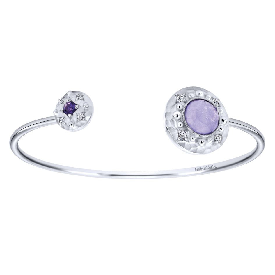 Sterling Silver, Purple Jade, Rock Crystal and Amethyst Bangle