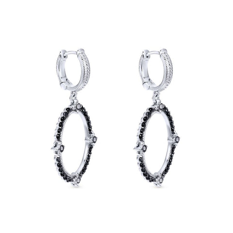 Sterling Silver, Diamonds and Black Spinel Drop Earrings
