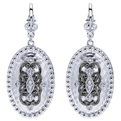 Sterling Silver, White Sapphires and Black Rhodium Filigree Earrings