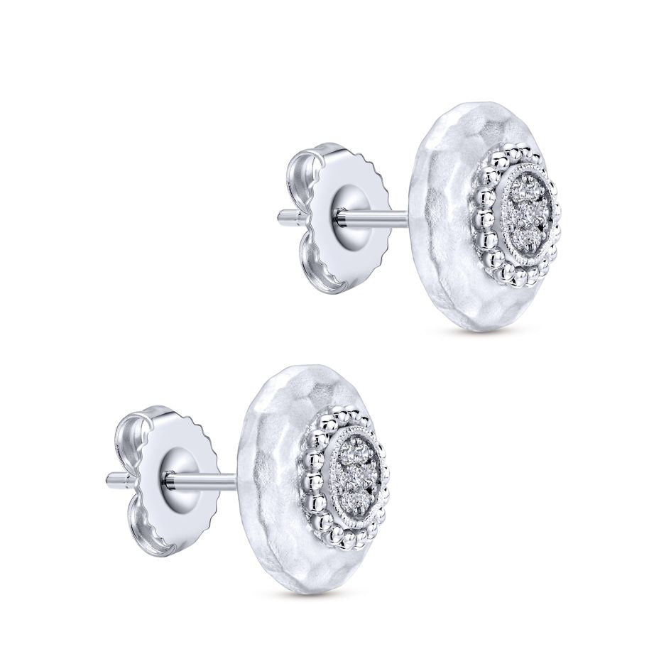 Sterling Silver, White Sapphires and Hammered Finish Stud Earrings