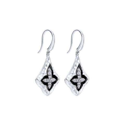 Sterling Silver and White Sapphire Earrings with Black Rhodium