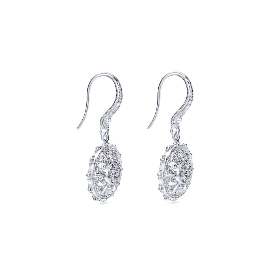 Sterling Silver and Diamonds Filigree Earrings