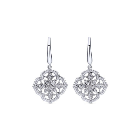 Sterling Silver, Diamonds and Filigree Drop Earrings