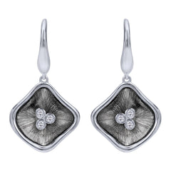 Sterling Silver, Diamonds and Black Rhodium Drop Earrings