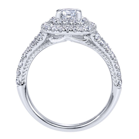 Ladies' Double Halo 14k White Gold Diamond Engagement Ring by jewelry designer Gabriel and Co