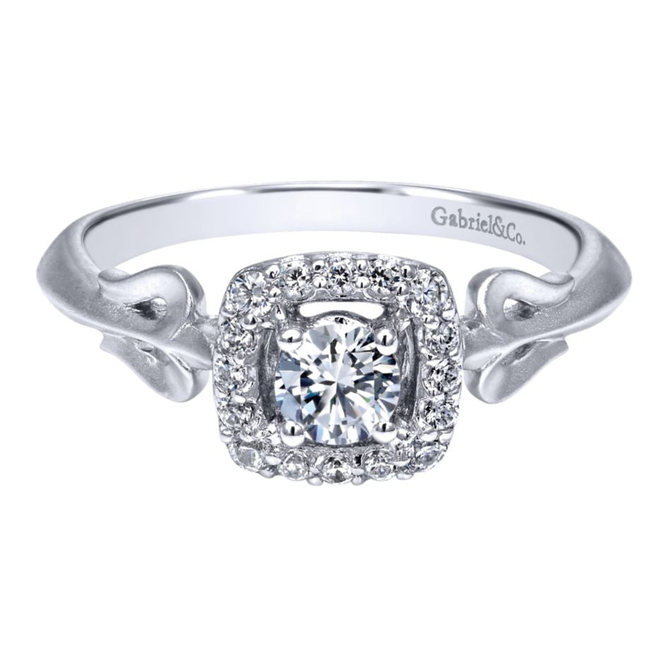 Ladies' 14k White Gold Diamond Pave Engagement Ring by Jewelry Designer Gabriel and Co