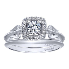 Gabriel and Co White Gold Curved Band and Engagement Ring Set