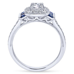 Ladies' 14k White Gold Diamond and Sapphire Engagement Ring by jewelry Designer Gabriel and Co