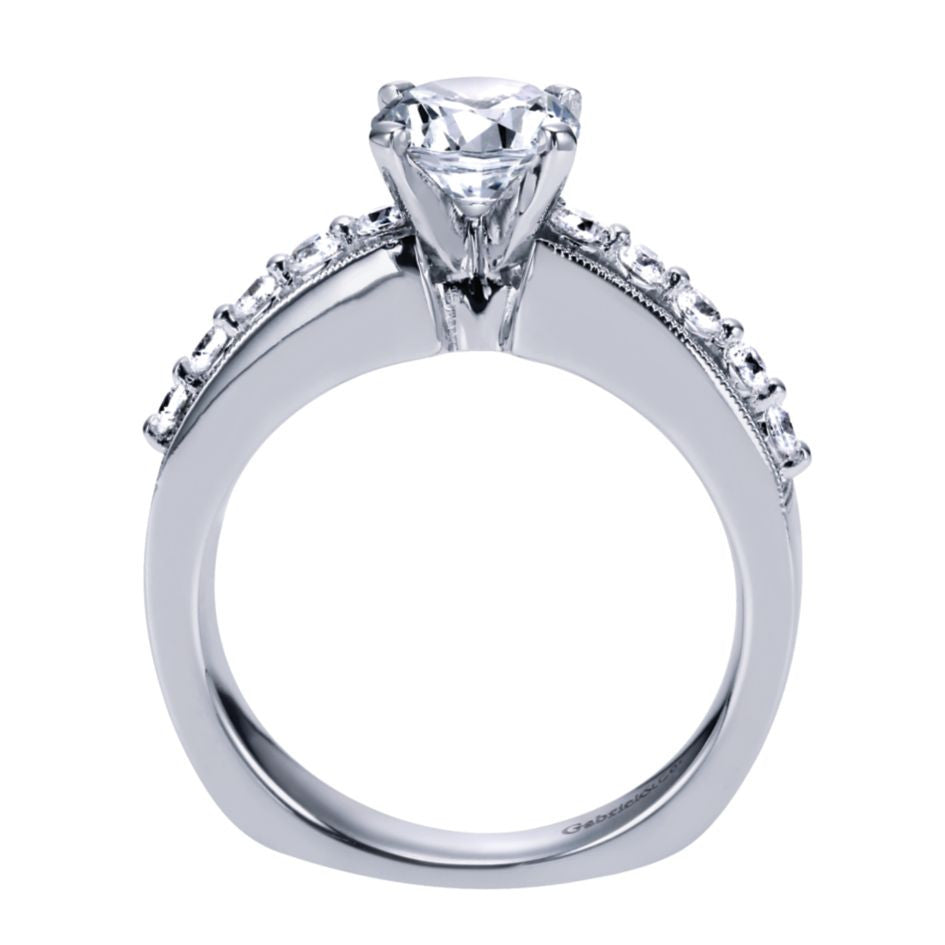Ladies' Floating Channel 14k White Gold Diamond Engagement Mounting by bridal jewelry designer Gabriel and Co