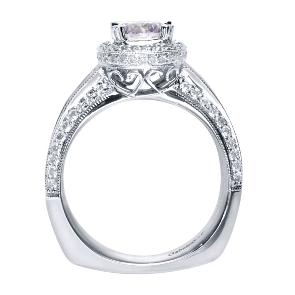 Ladies' Triple Pave 14k White Gold Diamond Engagement Ring by Gabriel and Co