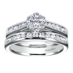 Ladies' Cluster 14k White Gold Diamond Engagement Ring by bridal jewelry designer Gabriel and Co