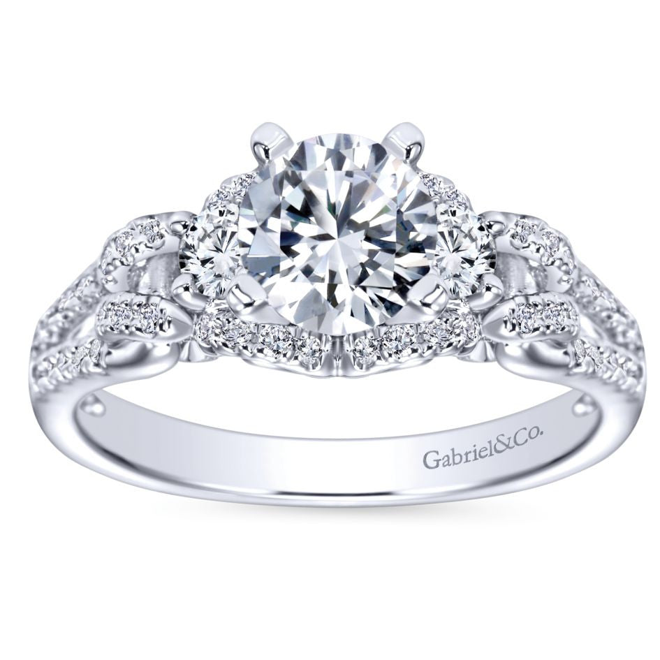 Ladies' Raised Shoulders 14k White Gold Pave and Split Shank Diamond Engagement Ring by Bridal Jewelry Designer Gabriel and Co