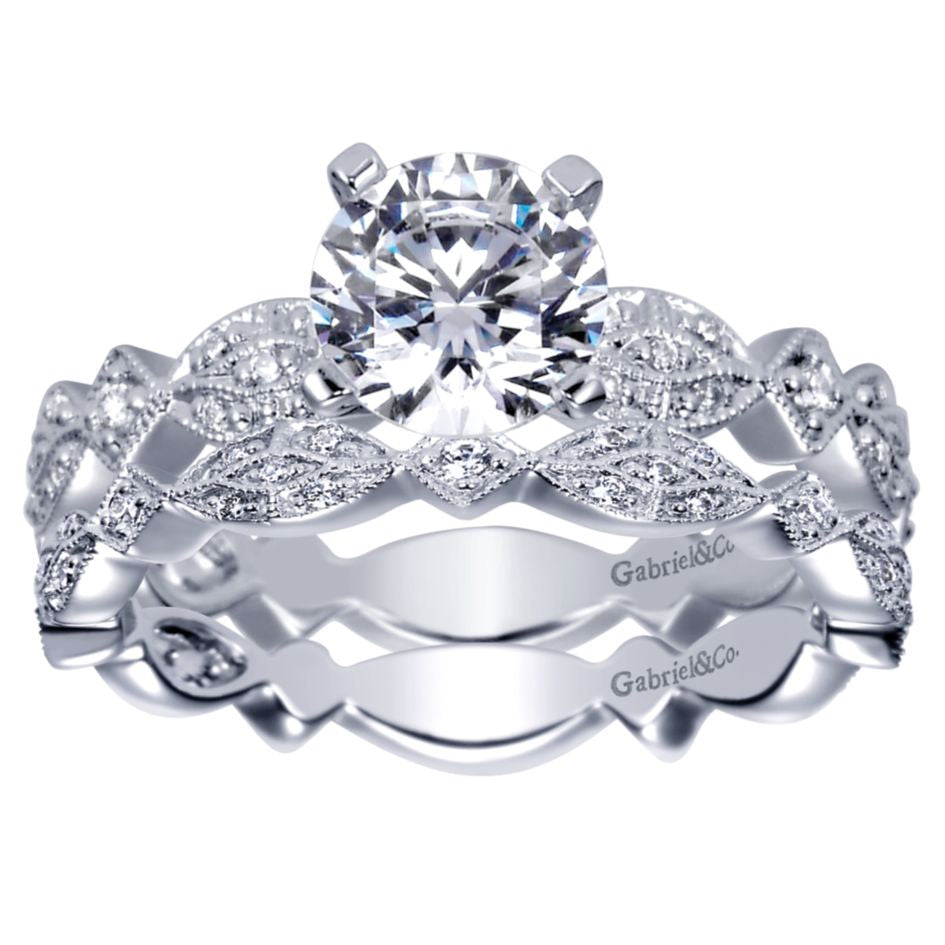 Ladies' Romantic 14k White Gold Diamond Engagement Mounting by Gabriel and Co