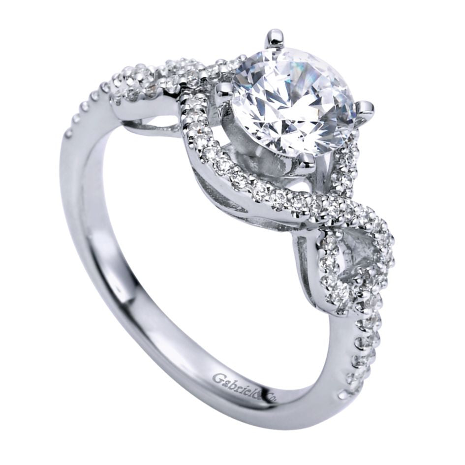 Ladies' Infinity Halo 14k White Gold Diamond Engagement Mounting by jewelry designer Gabriel and Co