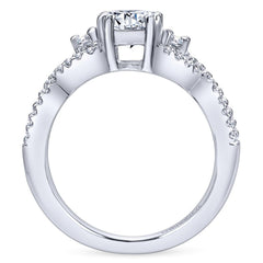 Ladies' Weave 14k White Gold Diamond Engagement Ring by Bridal Jewelry Designer Gabriel and Co