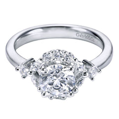 Ladies' Halo 14k White Gold Diamond Engagement Ring by bridal jewelry designer Gabriel and Co
