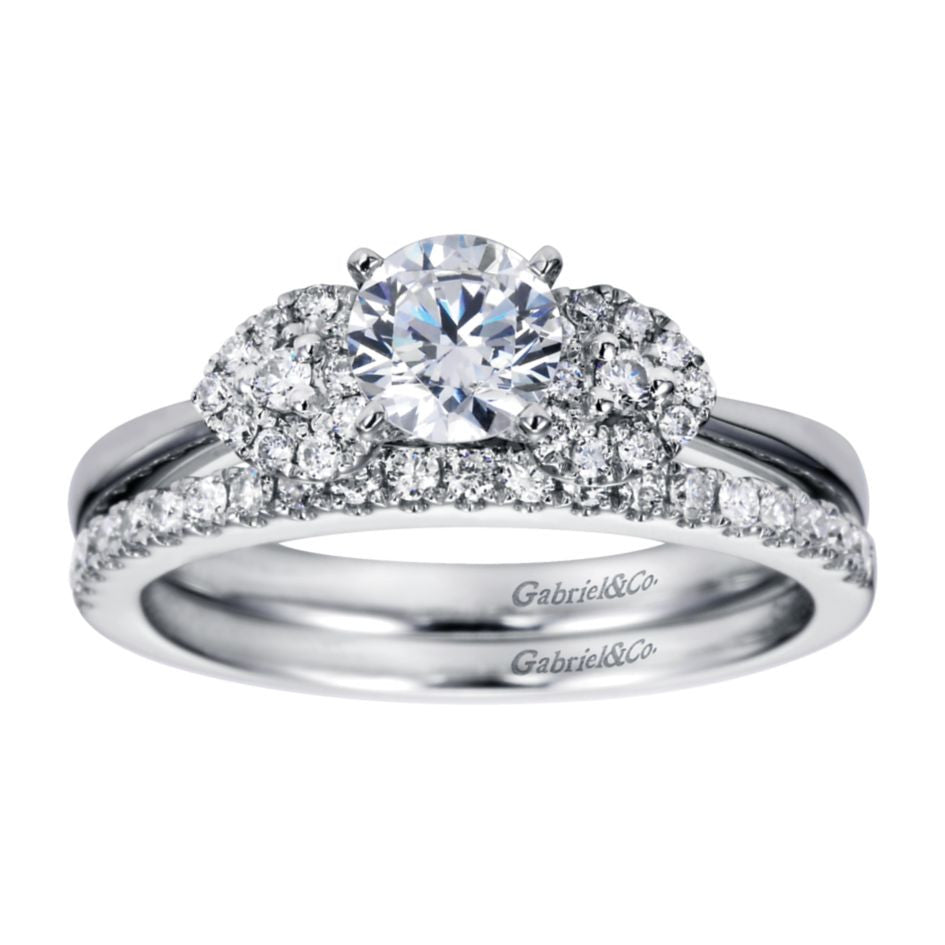 Ladies' Pave Petals 14k White Gold Diamond Engagement Ring by Bridal Jewelry Designer Gabriel and Co