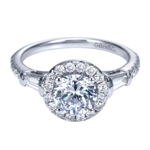 Ladies' Baguette and Pave 14k White Gold Diamond Engagement Ring
