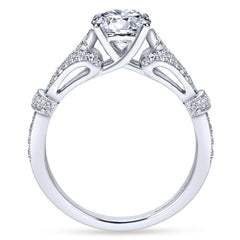 Ladies Vintage Look Diamond Pave Ring in White Gold side view