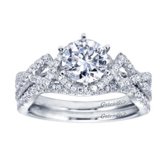 Ladies' Criss Cross 14k White Gold Diamond Engagement Ring