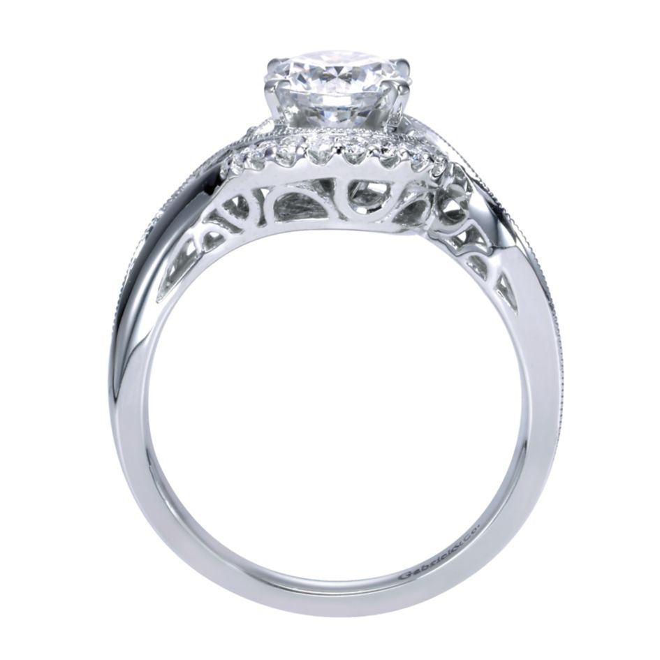Ladies' Bypass 14k White Gold Pave Diamond Engagement Ring