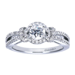 Ladies' Bonbon 14k White Gold Pave Diamond Engagement Ring by Gabriel and Co