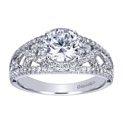 Pave Lace White Gold Diamond Engagement Mounting