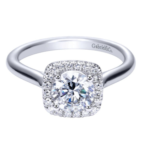 Ladies' Cushion Halo 14k White Gold Diamond Engagement Mounting by Bridal Jewelry Designer Gabriel and Co