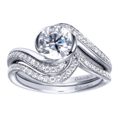 Ladies' Twisted 14k White Gold Diamond Engagement Ring