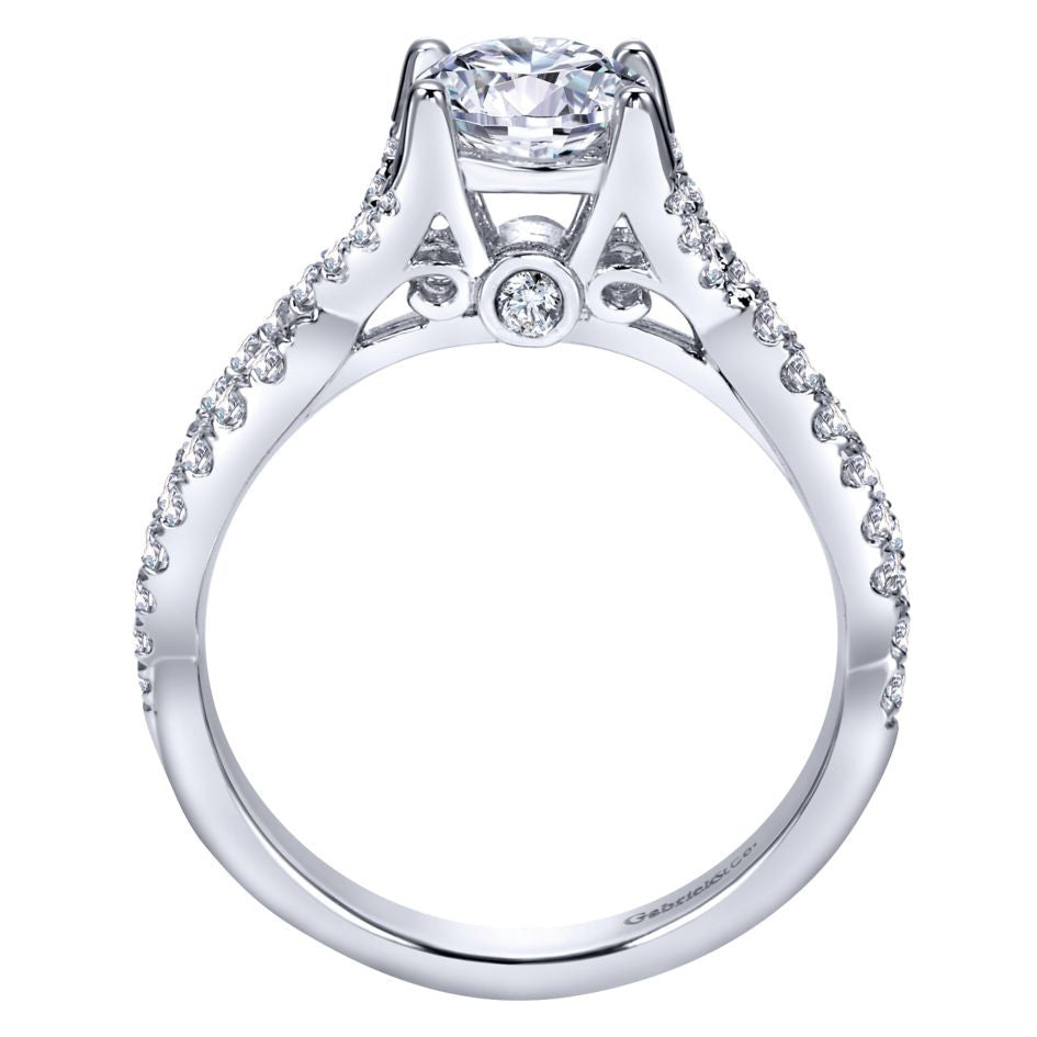 Ladies' Vintage Inspired 14k White Gold Diamond Engagement Ring by Gabriel